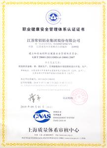 职业健康安全管理体系认证证书2019